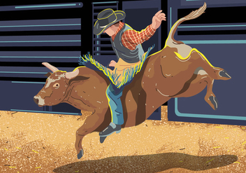 Bull Rider On Bucking Cow Jumping - vector gratuit(e) #394971