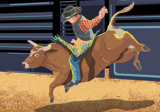 Bull Rider On Bucking Cow Jumping - Free vector #394971