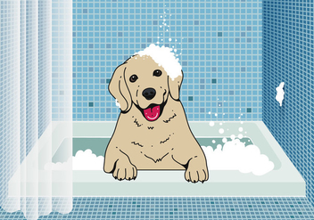 Cute Dog Wash Background - Free vector #395041