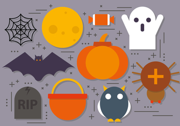 Flat Vector Halloween Icons - Free vector #395061