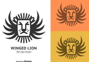 Free Flat Winged Lion Vector Logo - Free vector #395121