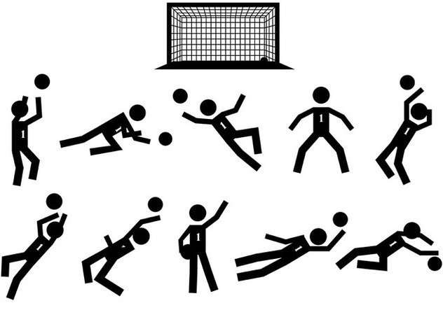 Stick Figure Goal Keeper Icons Vector - Free vector #395391