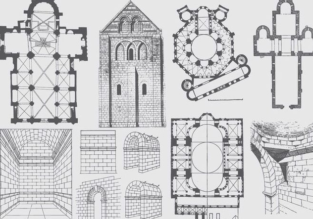 Ancient Architecture Plan And Illustrations - Free vector #395451