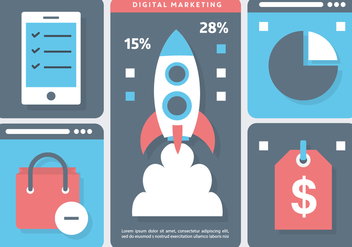 Rocket Marketing Vector Illustration - Free vector #395811