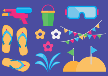 Songkran Equipment Icon Set - Kostenloses vector #395971