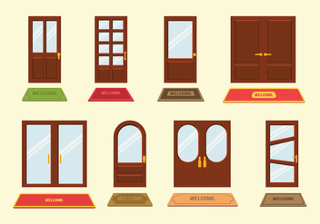Welcome Mat and Door Vectors - vector gratuit #396061