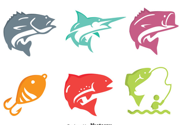 Colorful Fishing Fish Icons Vector - vector gratuit(e) #396601
