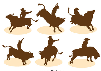 Bull Rider Silhouette Vector Set - Free vector #396631