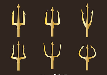Golden Poseidon Symbol Vector - Kostenloses vector #396771