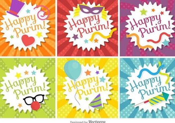 Happy Purim Tag Set Vector - Free vector #397071