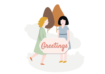 Girls Illustration Greeting - Free vector #397151