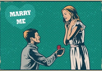 Marry Me Vintage Card - vector #397211 gratis