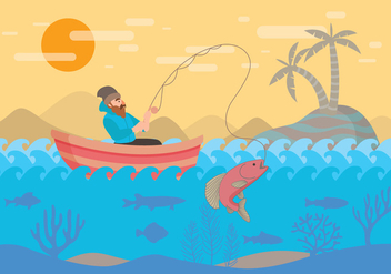 Fly Fishing with Boat Vector - vector gratuit #397311
