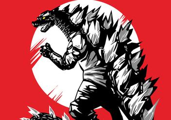 Red Godzilla Vector - Free vector #398151
