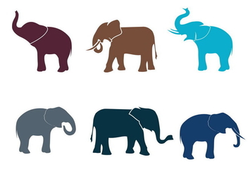 Elephant Silhouette Isolated Vector - Free vector #398271