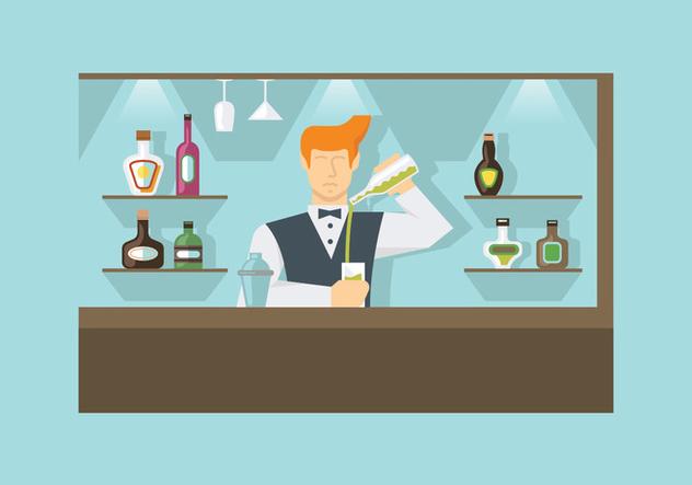 Barman at Work Vectors - бесплатный vector #398861