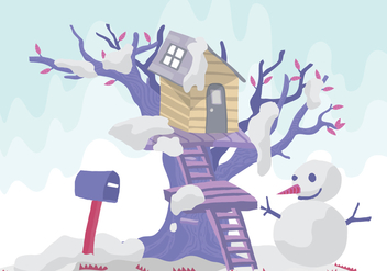 Snowman Tree House Vector Illustration - Free vector #398921
