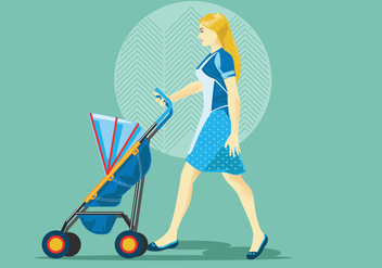 Babysitter or Mom with Stroller Vector - Free vector #399011