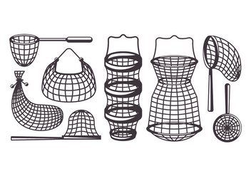 Fishing Net Vector Icons - vector gratuit #399071