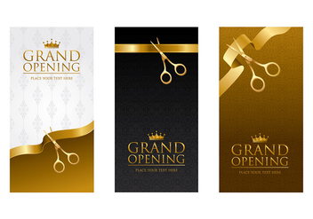 Ribbon Cutting Template Vector - Free vector #399241