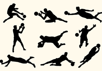 Set Of Goal Keeper Silhouettes - vector gratuit #399441