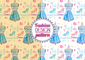 Free Vector Watercolor Fashion Pattern - Free vector #399451