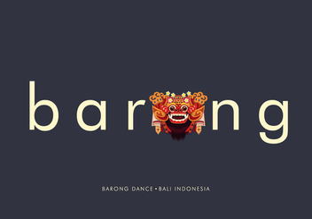 Barong Bali Typography Illustration - Free vector #399621