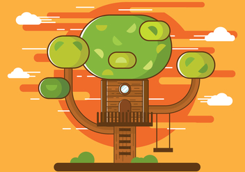 Free Illustration of Cartoon Tree House Vector - Free vector #399951