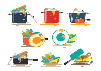Dirty Dishes Vectors - vector gratuit #400651