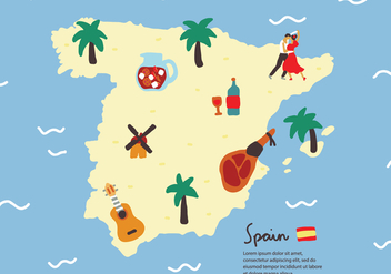 Typical Spanish Element Map Vector - vector gratuit #400841