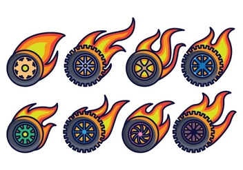Burnout Wheel Vector Pack - Free vector #401151