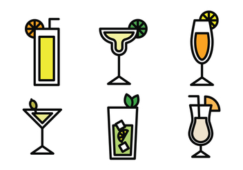 Drinks Outlined Icons - Free vector #401371