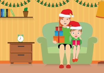 Free Mom And Child Christmas Illustration - Free vector #402151