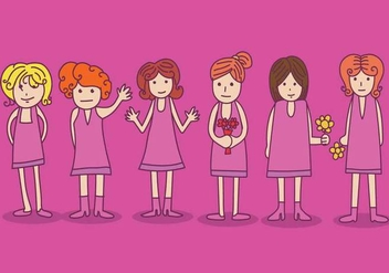 Cute Bridesmaid Vector - Free vector #402481