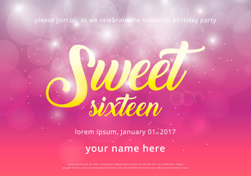 Sweet 16 Illustration Birthday Invitation Template - Free vector #402531