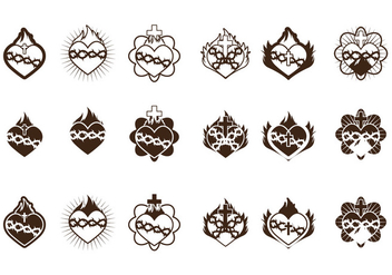 Sacred Heart Icon Collection - vector gratuit #402651