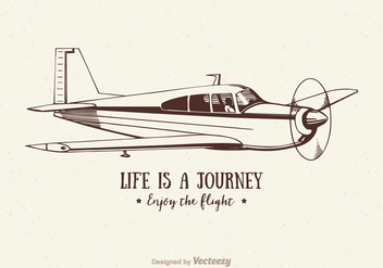 Free Vector Vintage Airplane Illustration - Free vector #402861
