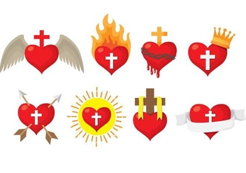 Sacred Heart Icons - Free vector #403061