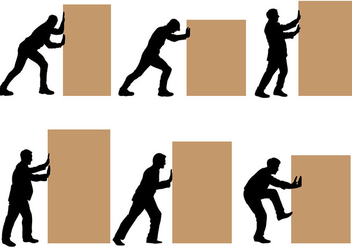 Free Man Pushing Block Vectors - vector gratuit #403141