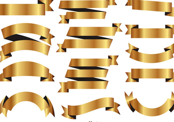 Golden Ribbons Vector Set - Kostenloses vector #403621