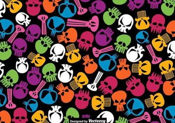 Vector Seamless Pattern Of Hand Drawn Skulls - Free vector #403631