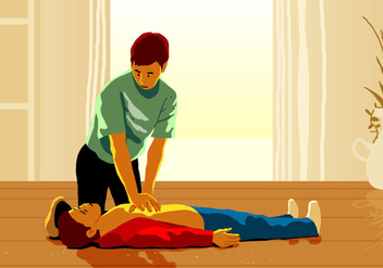 A Man Doing Cpr Rescue - vector gratuit #403941