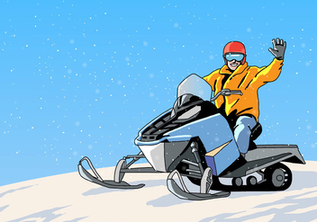 Snowmobile Tour Vector - Free vector #403951
