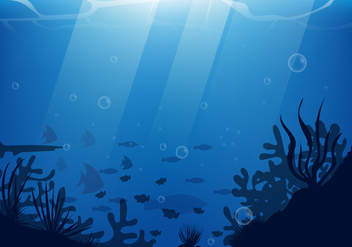 Under Water Scene With Silhouette Coral And Fish Illustration - vector gratuit(e) #404101