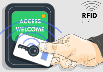 Keylock With Rfid Illustration - Free vector #404111