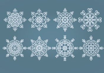 Vector Snowflakes Set - Free vector #404291