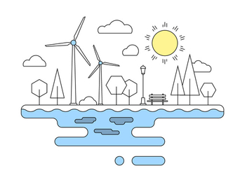 Green Energy Landscape Vector Illustration - Free vector #404621