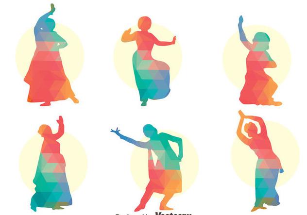 Colorful Bollywood dance Vector Set - vector gratuit(e) #405061