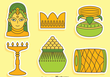 India Festival Element Icons Vector - Free vector #405091