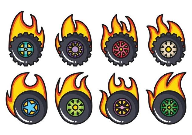Free Burnout Wheel Vector Pack - бесплатный vector #405371